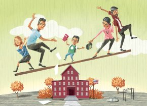 300 dpi Mark Hoffer color illustration of child balancing on top of school in-between two sets of parents. Fort Worth Star-Telegram 2007  KEYWORDS: stepparent balance illustration balancing step-parent step parent parenting father mother stepfather stepmother adoption foster divorce kid child children school custody, 14000000, krtnational national, krtsocial social issue, SOI, krt, mctillustration, 05005002, EDU, junior high school, krteducation education, krtschool school, middle school, 14006001, 14006004, children child, divorce, FEA, krtfamily family, krtfeatures features, krtrelationship relationship, krtsocialissue social issue, 2007, krt2007, ft contributor coddington hoffer mct mct2007, ft contributed